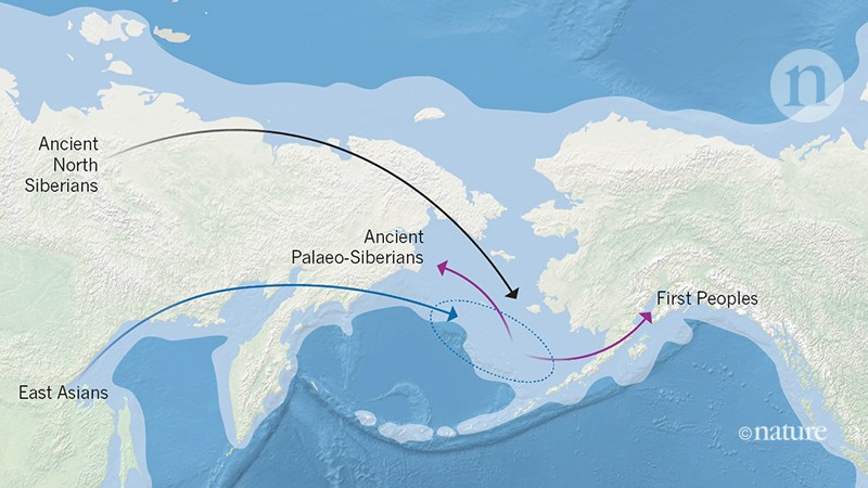 The lineages of the first humans to reach northeastern Siberia and the Americas