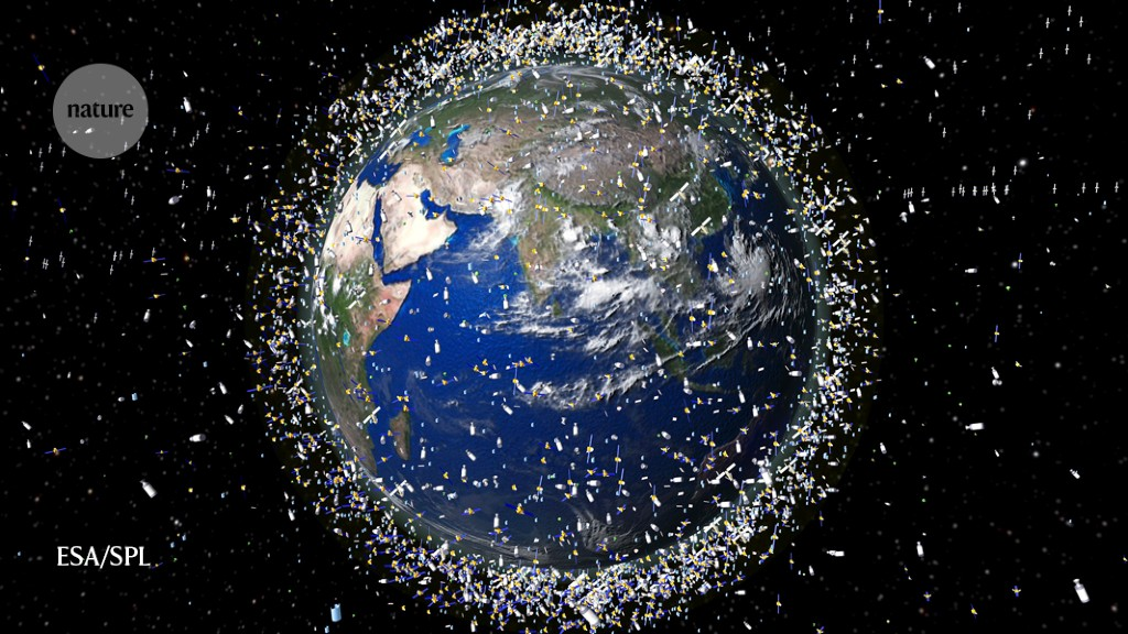Space junk such as broken spacecraft and inactive satellites (illustration) adds to mounting congestion in Earth's orbit. Credit: European Space Age