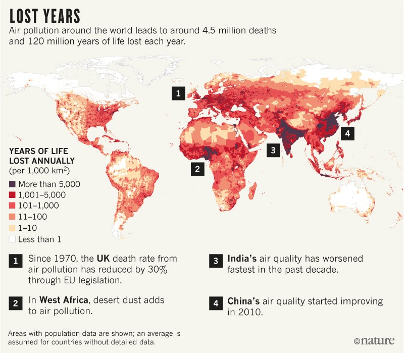 World map showing years of life lost annually owing to air pollution
