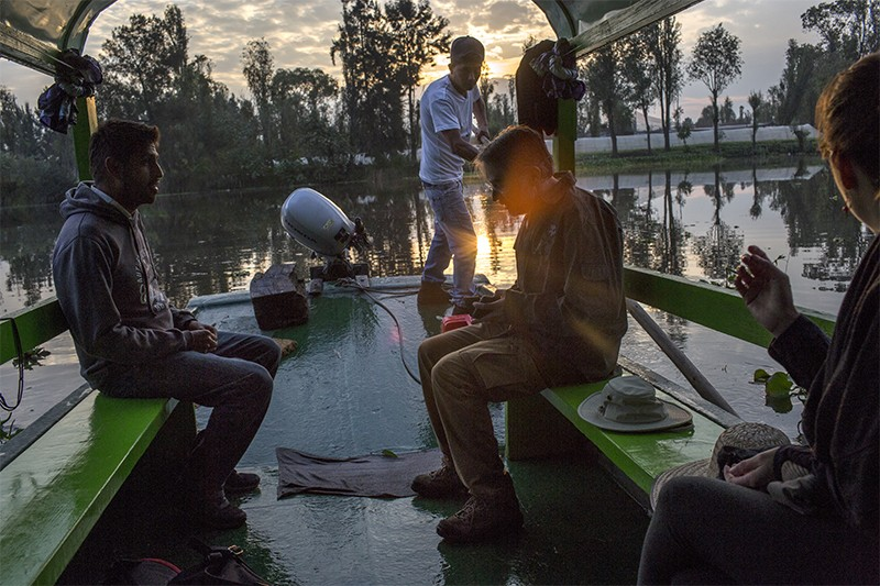 Dr Luis Zambrano and students at early morning in Xochimilco water canals, Mexico city.