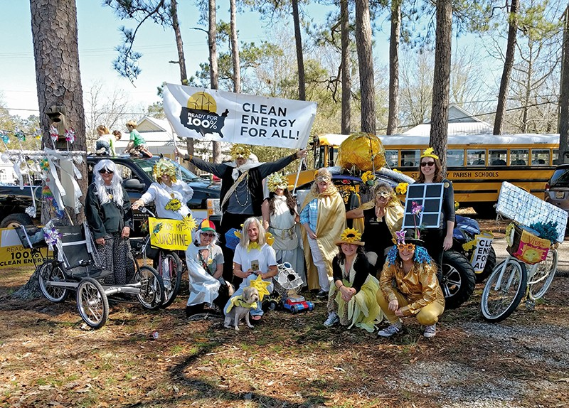 Citizens dressed for Mardi Gras in Abita Springs, Louisiana