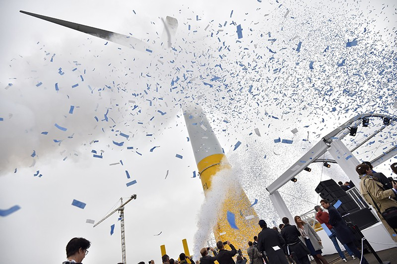 Wind turbine during inauguration, France 2017.