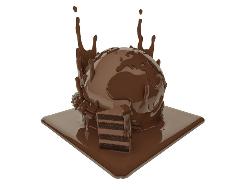Artistic illustration of a chocolate globe and a slice of cake
