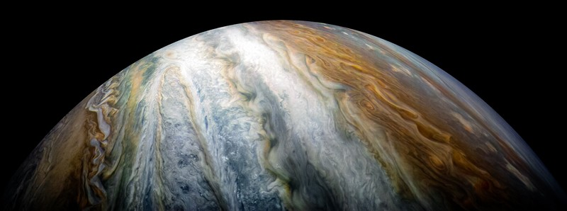 Jupiter's cloud belts as seen from the Juno spacecraft
