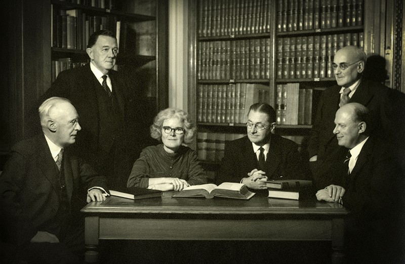 A 1957 photograph of members of the Royal Society, including Kathleen Lonsdale, one of the first female fellows