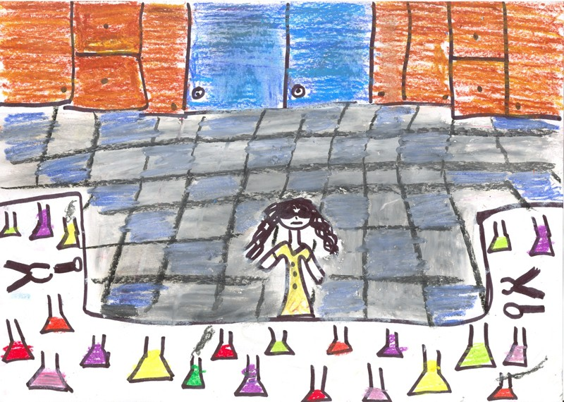 Drawing of female scientists by 10-11 yr old pupils.