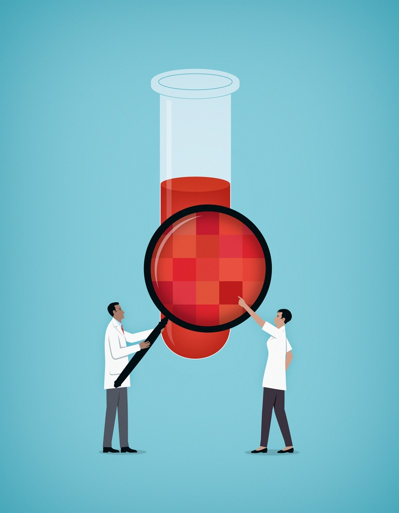 Illustration of scientists examining chemical in test tube