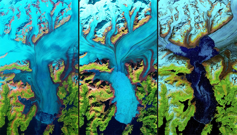 L-R - False colour Landsat images showing Columbia Glacier in 1986, 1999 and 2017.