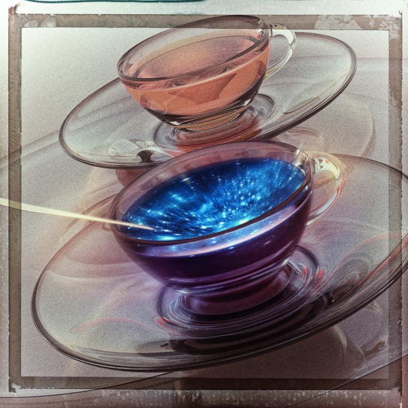 Artisit's illustration of two clear teacups, one of which seems to contain a vision of the Universe