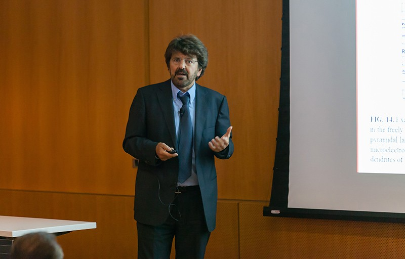 Neuroscientist Nikos Logothetis giving a lecture at the NYU Neuroscience Institute in 2014.
