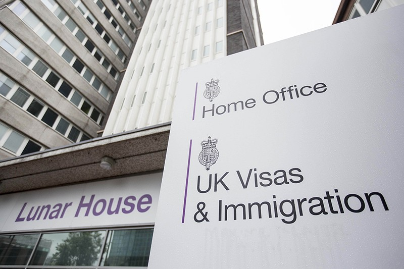 Picutre of Lunar House and the Home Office UK Visas and Immigration sign in Croydon, London, UK