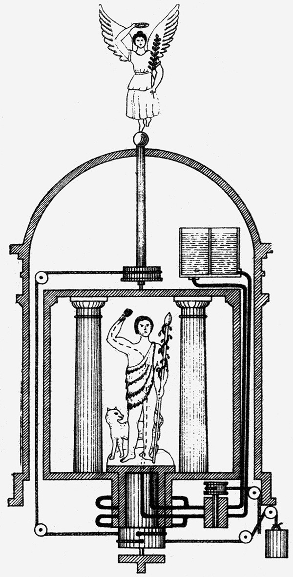 A woodcut of Hero of Alexandria's automatic mechanical theatre.
