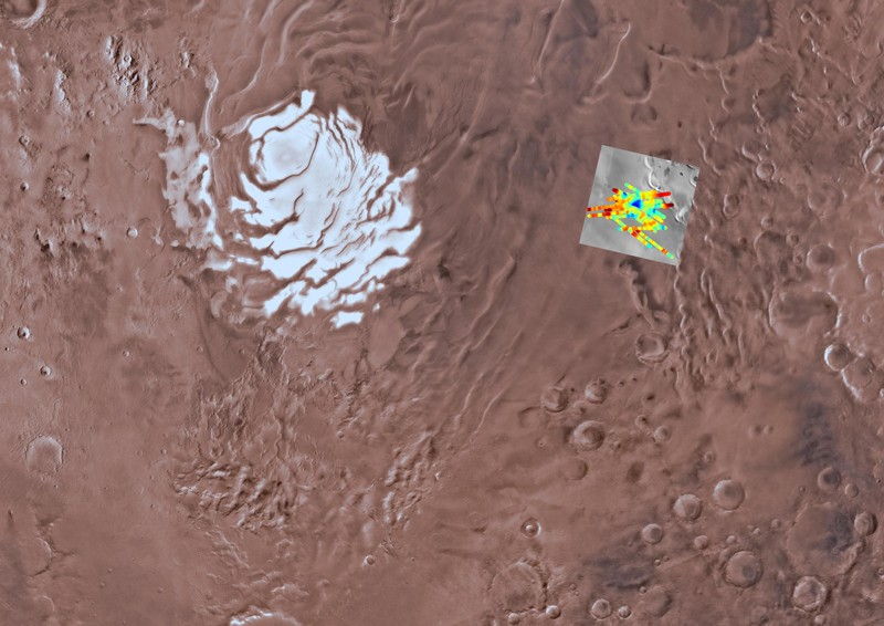 Surface of Mars showing echo power