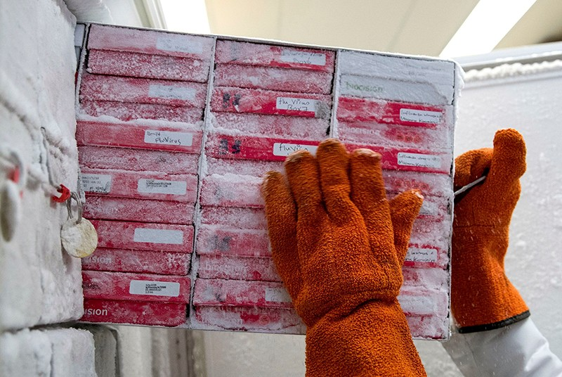 Biologist pulls boxes of flu virus strains from a freezer