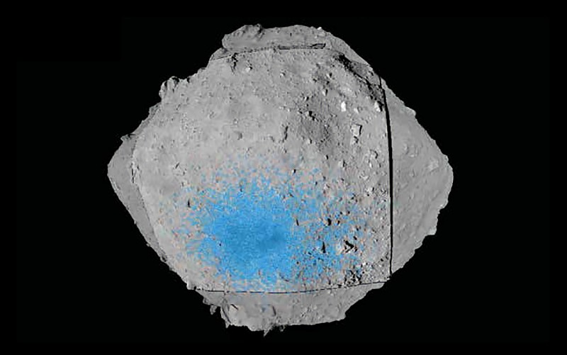 The asteroid Ryugu shown with its landing site marked