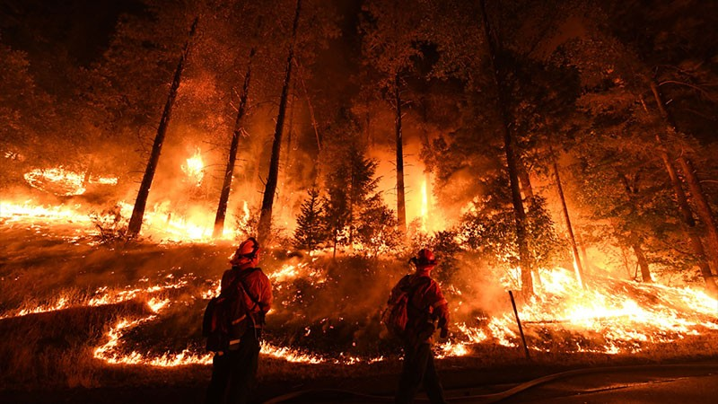 Firefighters work to control the spread of a fire in California.