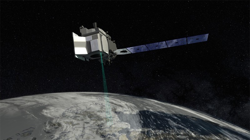Illustration of the ICESat-2 satellite orbiting the earth and scanning with its' laser (green)