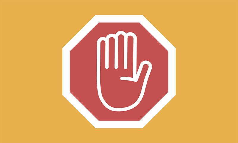 Illustration of a red stop sign with a palm facing outward. Copyright NATURE