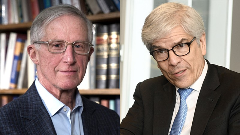 L: William Nordhaus in front of a bookcase. R: Paul Romer during conversation