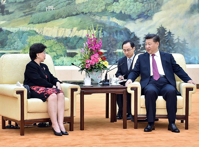 Xi Jinping talks with Margaret Chan
