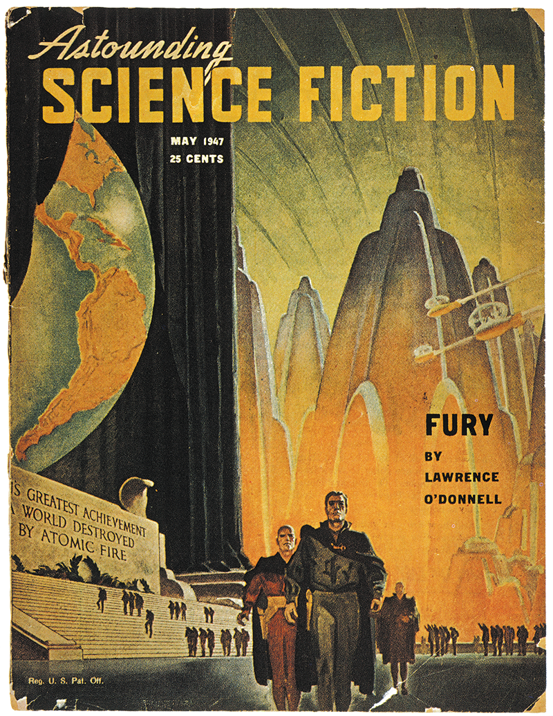 May 1947 cover of 'Astounding Science Fiction', with the nuclear cover story 'Fury' by Lawrence O'Donnell