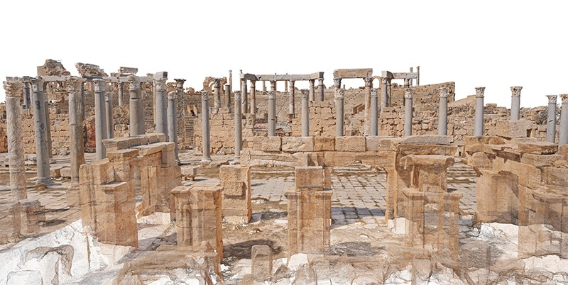 3D rendering of Leptis Magna theatre in Libya