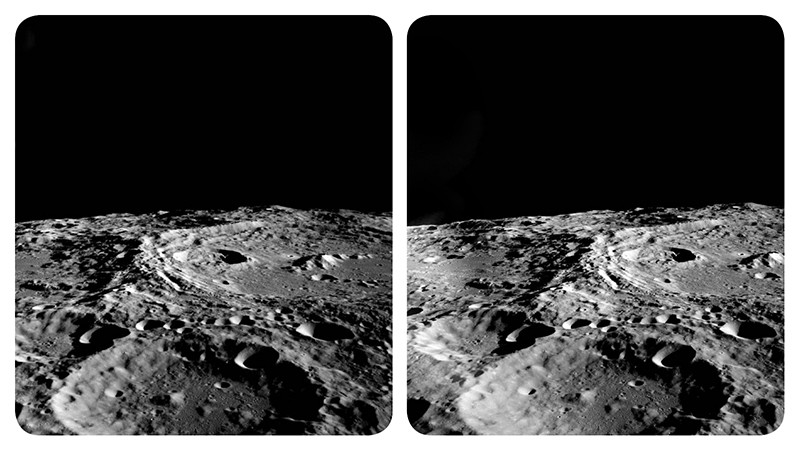 A stereoscopic image of the far side surface of the moon, taken by Apollo 10 astronauts