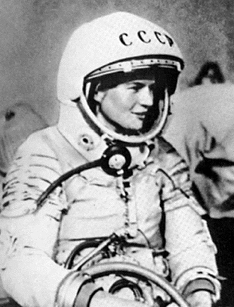 Valentina Tereshkova pictured in her cosmonaut suit. Previously a factory worker, she was the first woman in space.