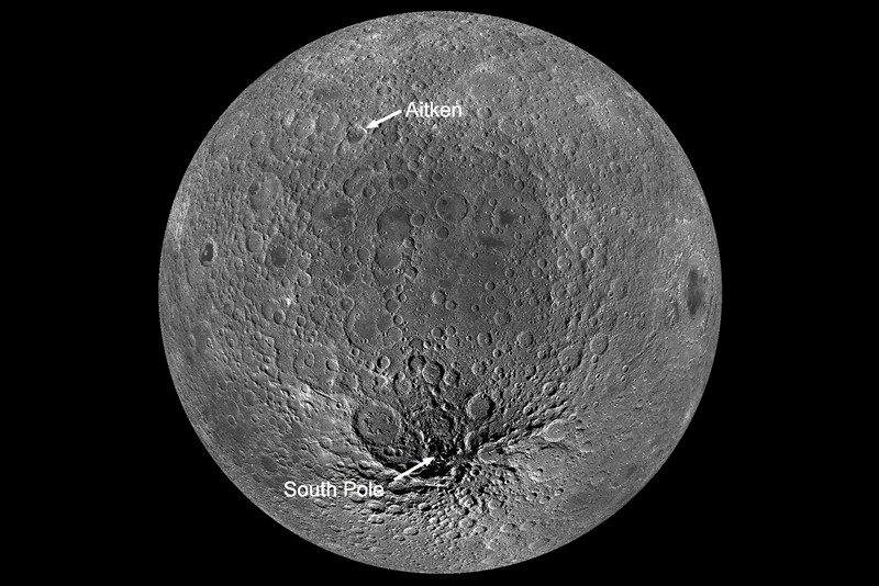 View of the moon showing South Pole–Aitken basin (labelled)