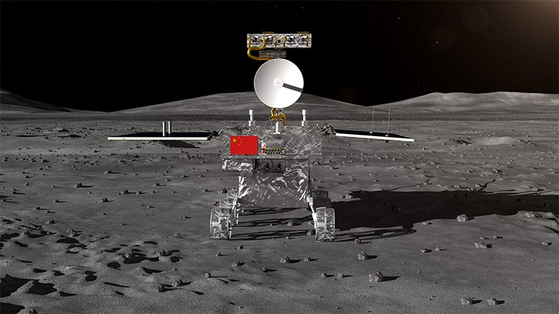Rendering of the moon rover for Chinas Chang'e4 lunar probe on the lunar surface.
