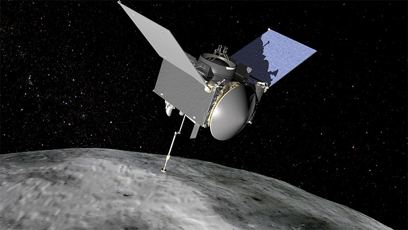 Illustration of the OSIRIS-REX spacecraft approaching the asteroid Bennu