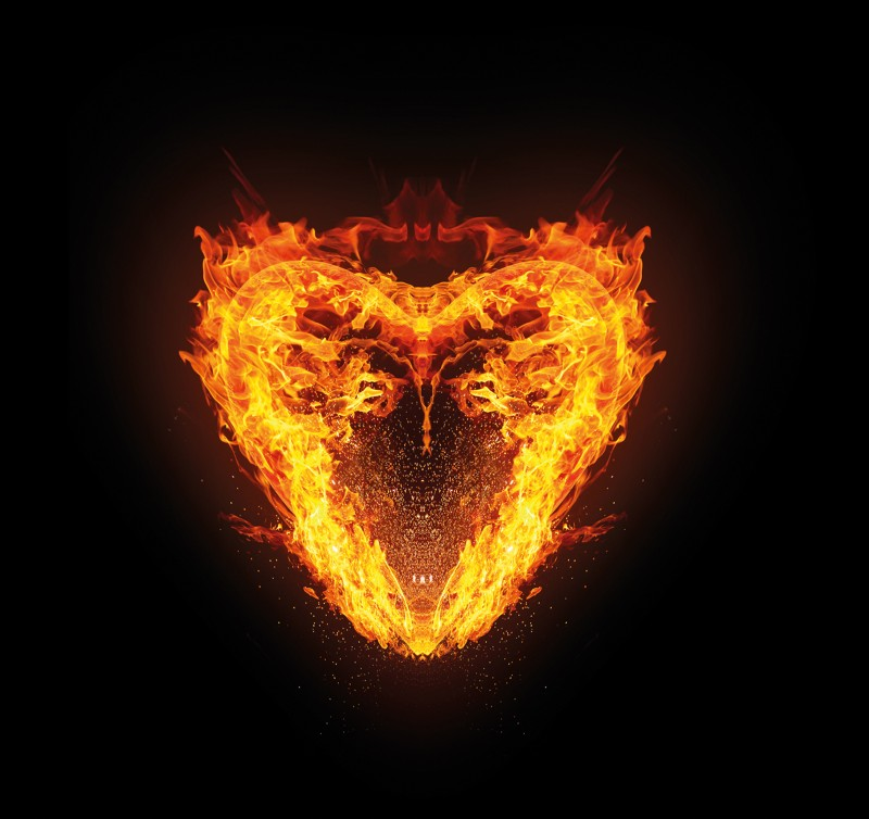 Artistic illustration of a heart composed of flames
