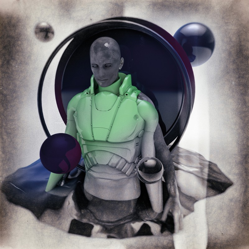 Illustration of a man in a futuristic space suit