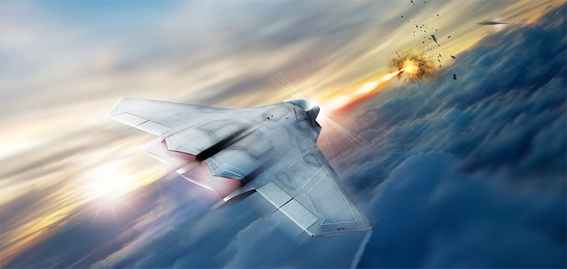 Artist's concept of a high energy laser on a US Airforce fighter jet.