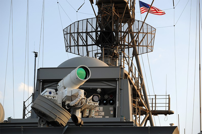 LaWS laser weapon cannon mounted on a US Navy Staging Base in the Arabian Gulf in 2014