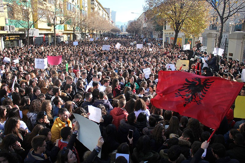 Thousands of students protest in front of the Ministry of Education in Albania