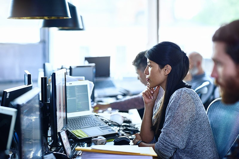 Woman working on computer development