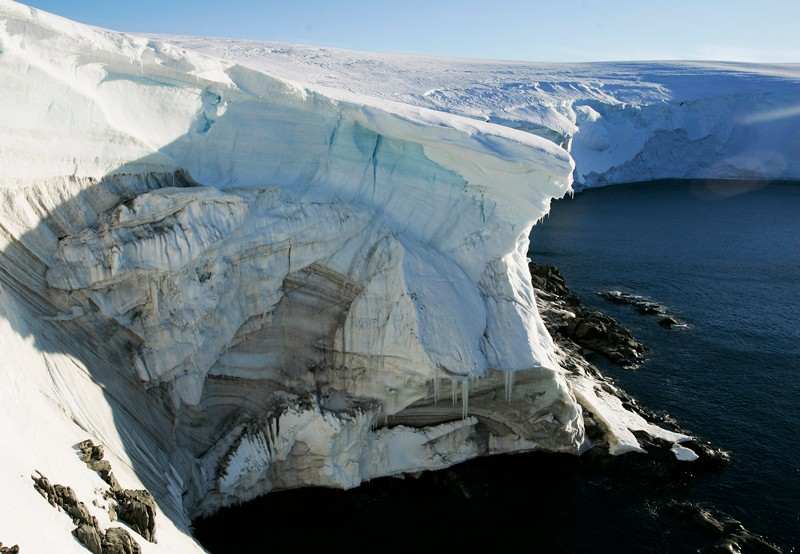Melting ice cliff face