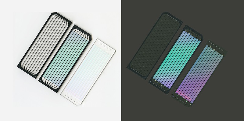 Two different views of computer chips