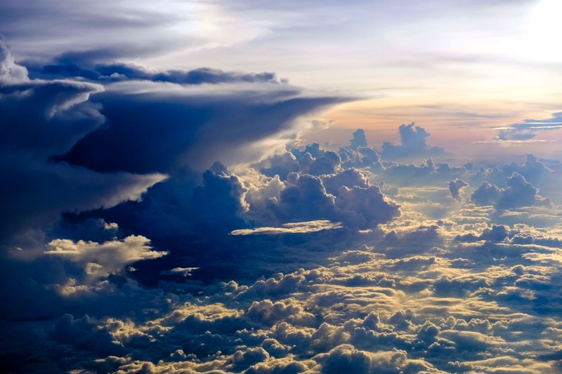 Aerial view on thunderstorm clouds from an airplane