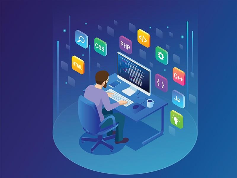 Иллюстрация программиста, кодирующего новый проект, со значками языка программы, висящими вокруг его стола