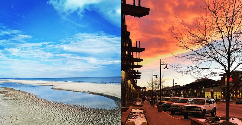 Photo montage showing a sunny beach in Adelaide, Australia (L) and a sunset along a picturesque street in Boulder, Colorado (R)