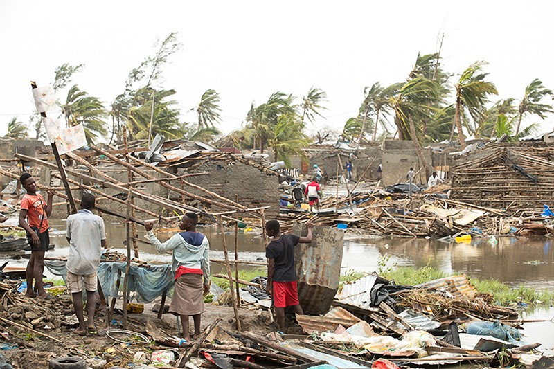 Tropical Cyclone Idai destroyed the neighborhood of Praia Nova in Beira, Mozambique