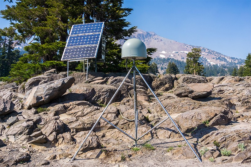 GPS antenna and solar panel on a rocky hillside at the Lassen Volcanic National Park