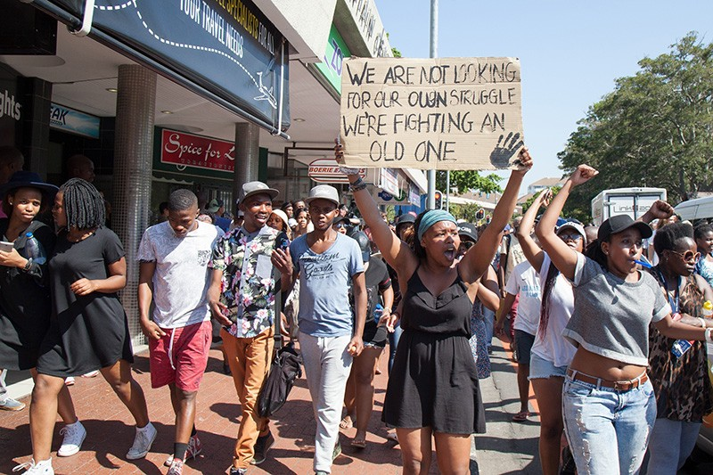 Students from the University of Cape Town protest against university policies