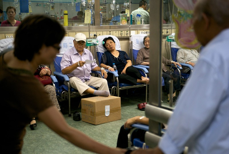 Patients receiving treatment by infusion in a hospital in Beijing.