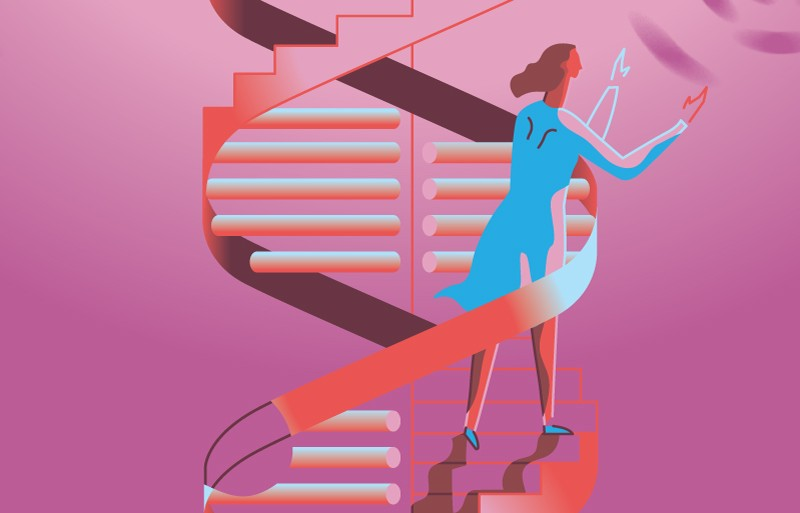 Stylized image of a woman climbing the DNA double helix like a spiral staircase..