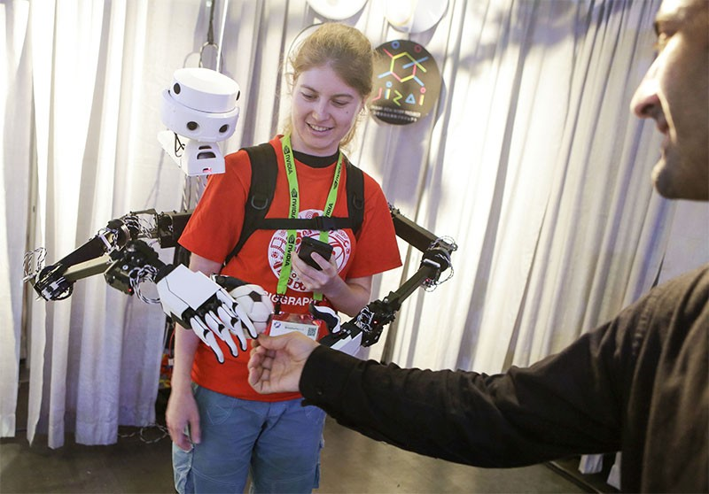 Photo of a wearable robot at a conference in Vancouver, Canada.