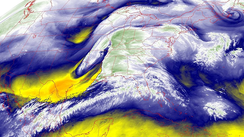 Mid-Level Water Vapor of the Continental United States.