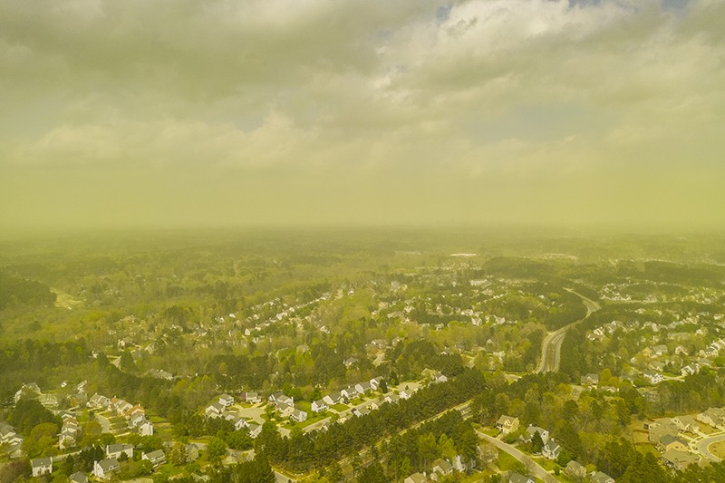 Pollen spread by wind above Durham, NC on April 8th, 2019
